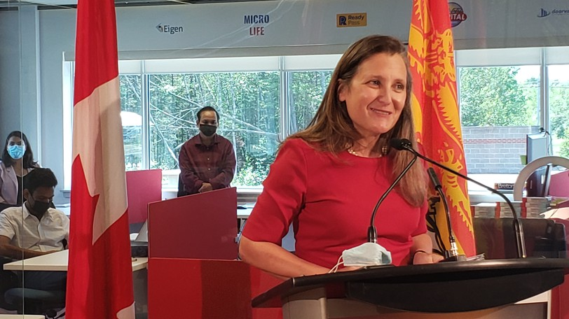 Federal Liberal candidate Chrystia Freeland pictured in Fredericton earlier this year. As finance minister, Freeland introduced changes to Old Age Security that one reader believes should have been tied to income.