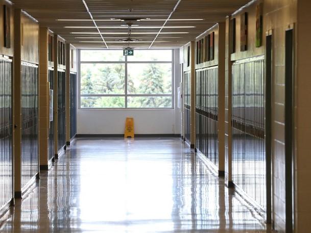 A high school corridor in Ottawa is seen in late June.