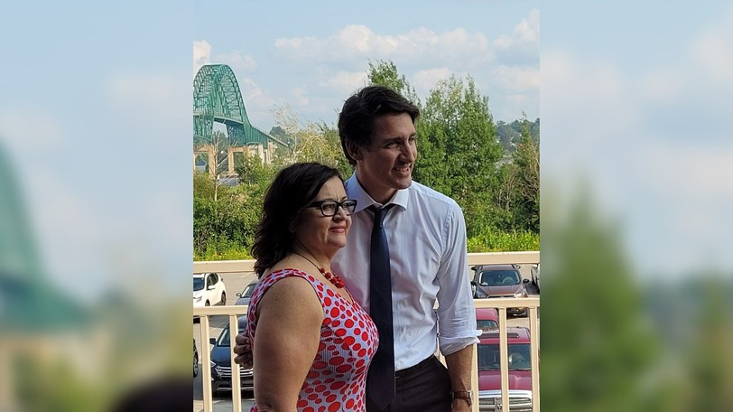 Liberal leader Justin Trudeau and Lisa Harris, the longtime MLA who will run for the Liberals in the federal riding of Miramichi-Grand Lake in the next election, pose for a photo in Miramichi earlier this month.