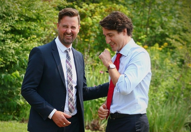 Jason Hickey, the Liberal candidate for New Brunswick Southwest, pictured with Liberal Leader Justin Trudeau last month.