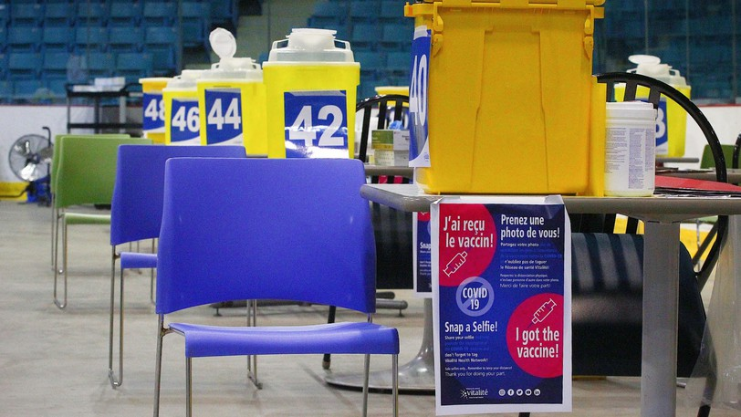 Chairs at the Moncton Coliseum vaccine clinic are seen earlier in July.