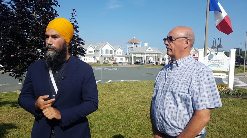 NDP Leader Jagmeet Singh is pictured campaigning in Bathurst earlier this summer.