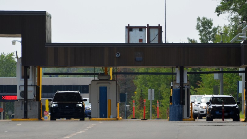 American travellers make their way through the Woodstock Road Canadian border entry last month.