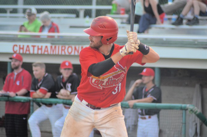 Riley MacKnight and the Miramichi Mike's Bar and Grill Cardinals are facing the Caraquet Acadiens in a best-of-three Miramichi Valley Baseball League miniseries.