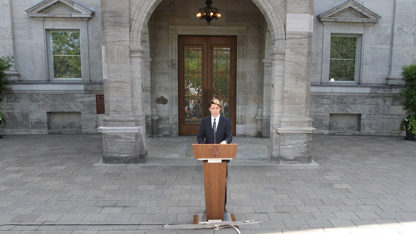 Justin Trudeau is pictured after his visit to Rideau Hall on Sunday where he asked newly-installed Gov. Gen. Mary Simon to dissolve Parliament, triggering the official launch of the federal election campaign.