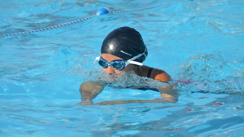 Maya Pelletier of Grand Falls displayed her swimming skills during a meet at the Plaster Rock pool on Saturday, Aug. 14. Grand Falls took first place in the seven-team meet with 230 points.