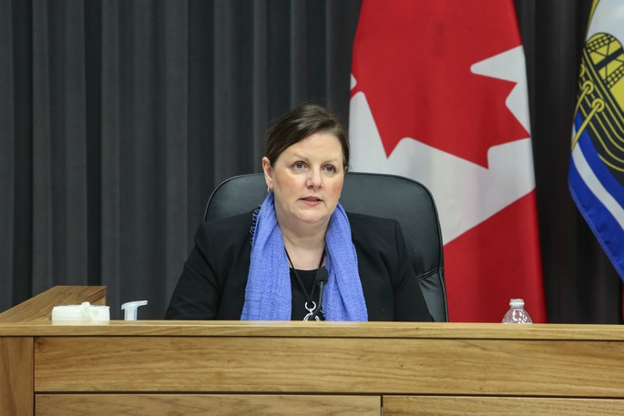 Dr. Jennifer Russell, New Brunswick chief medical officer of health, speaks at a news conference in this file photo. A farm equipment dealer in Florenceville-Bristol has been listed as a potential exposure site.