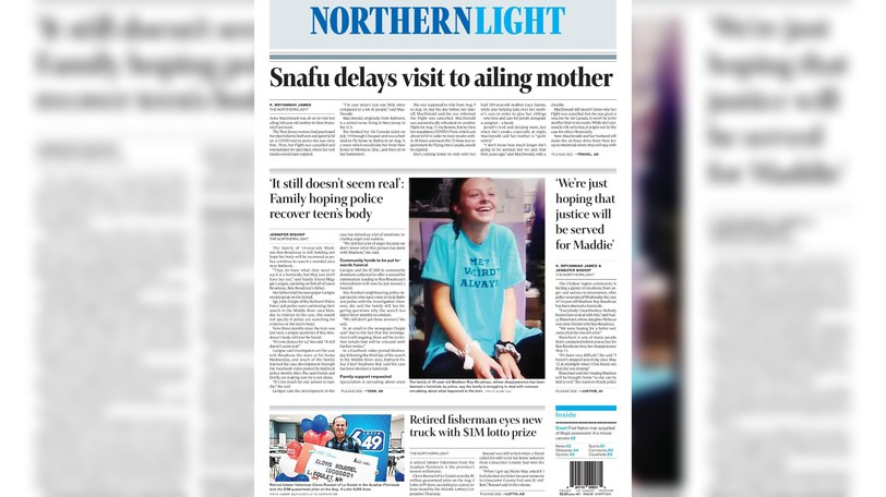 Pictured is the front page of the Aug. 17 edition of The Northern Light.