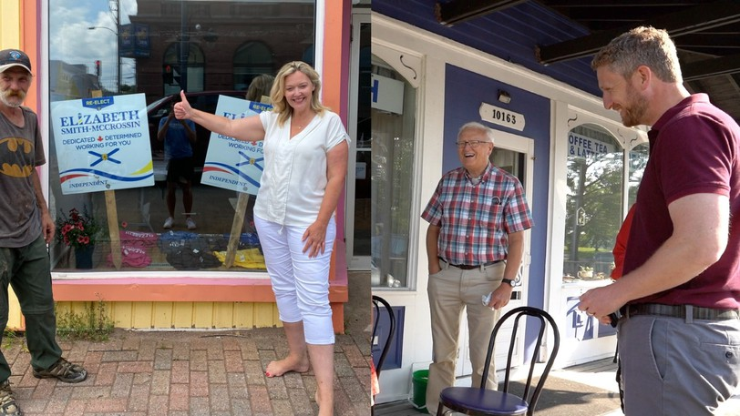 From right, Premier Iain Rankin and Cumberland North Liberal candidate Bill Casey, and incumbent MLA Elizabeth Smith-McCrossin and a campaign volunteer hit the hustings in recent days. Nova Scotians go to the provincial polls on Tuesday.