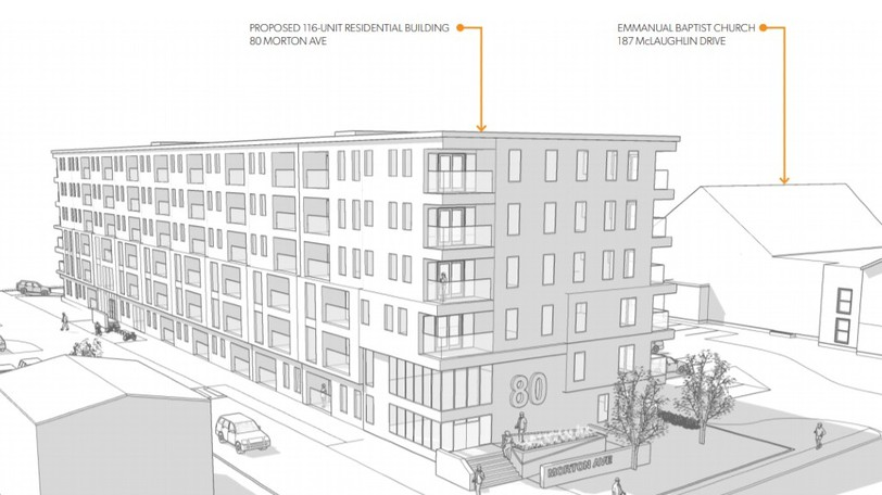 An illustration shows the building and site concept for a development proposed by Trace Planning and Design, on behalf of landowner Emmanuel Baptist Church, which would be located on Morton Avenue at McLaughlin Drive.