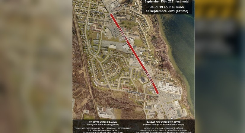 The City of Bathurst issued a paving advisory forcitizens on its Facebook page Tuesday morning, informing them work will begin on a section of St. Peter Avenue between St. Simon and Chaleur streets beginning Aug. 19 and should be completed bySept. 13.