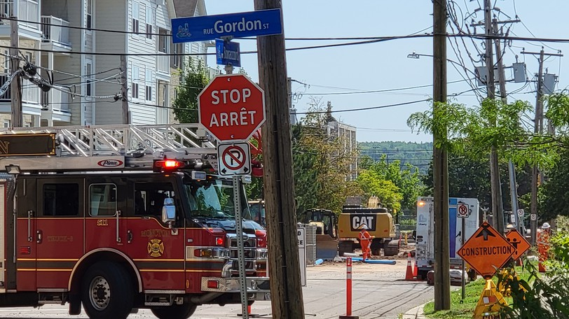 The Moncton Fire Department responded to a gas leak on Bonaccord Street early Tuesday afternoon.