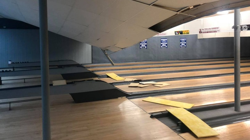 The Woodstock Bowlacade is closed until a collapsed drop ceiling can be fixed.