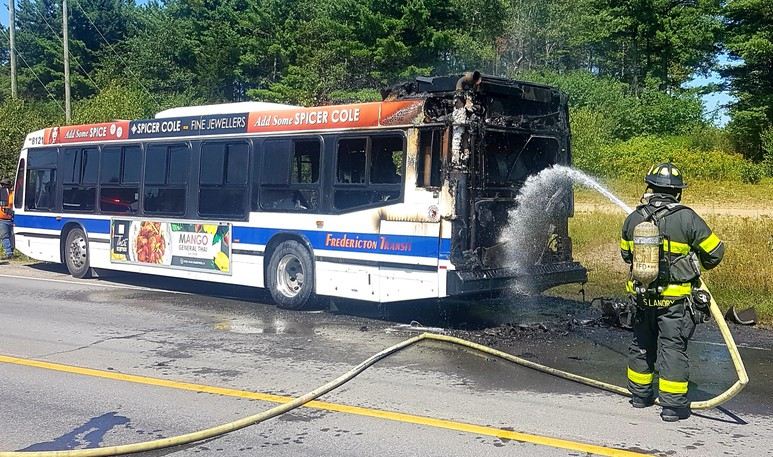 Firefighters put out a fire on a city bus on Two Nations Drive on Tuesday. Apparently, the fire was noticed by a passing car, who let the transit driver know.