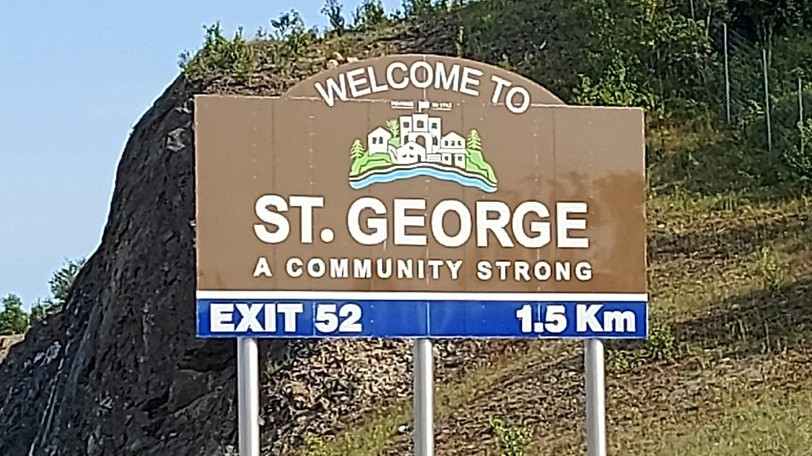 St. George's sign from the highway.