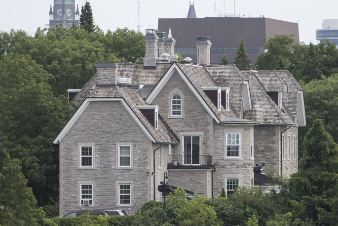 A view of 24 Sussex Drive from Rockcliffe Park in Ottawa on Monday, July 22, 2019.