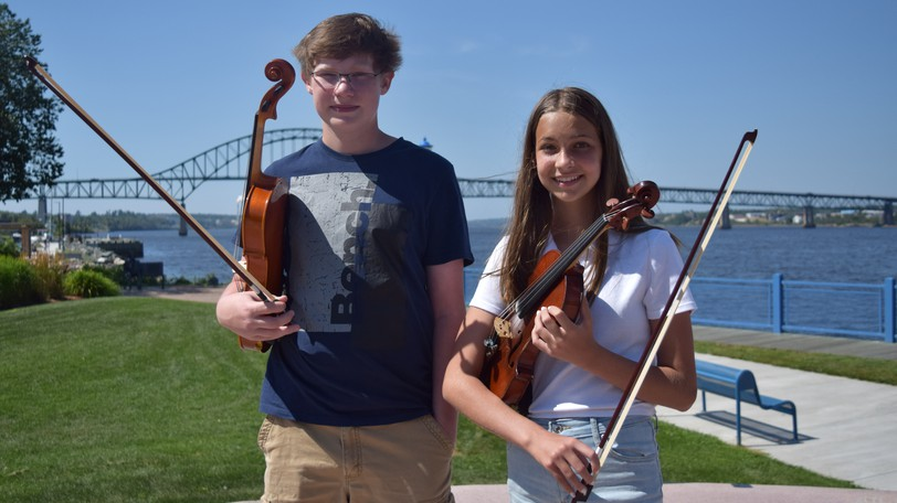 Caden Buckley, 13, and Emma Matheson, 11, are the first Miramichi musicians to be selected to join the New Brunswick Youth Orchestra.