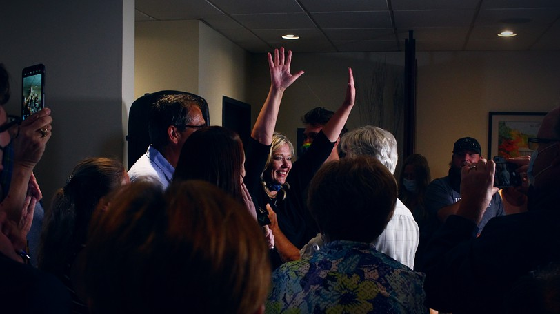 Elizabeth Smith-McCrossin greets her supporters shortly after being declared as re-elected as an independent MLA in Cumberland North during the Nova Scotia election.
