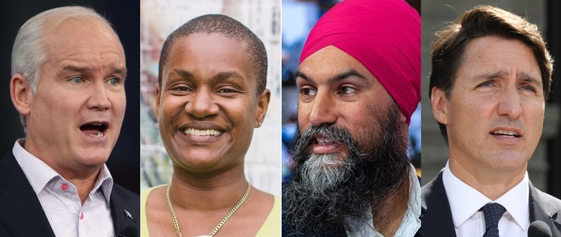 Conservative Leader Erin O'Toole, Green Leader Annamie Paul, New Democrat Leader Jagmeet Singh, Liberal Leader Justin Trudeau