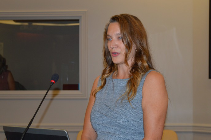 Nadia Mallet, community coordinator for the New Brunswick Fetal Alcohol Spectrum Disorder Centre of Excellence, said 30,000 New Brunswickers have the disorder, many of whom are undiagnosed. She is pictured making a presentation to Bathurst city council Aug. 16.