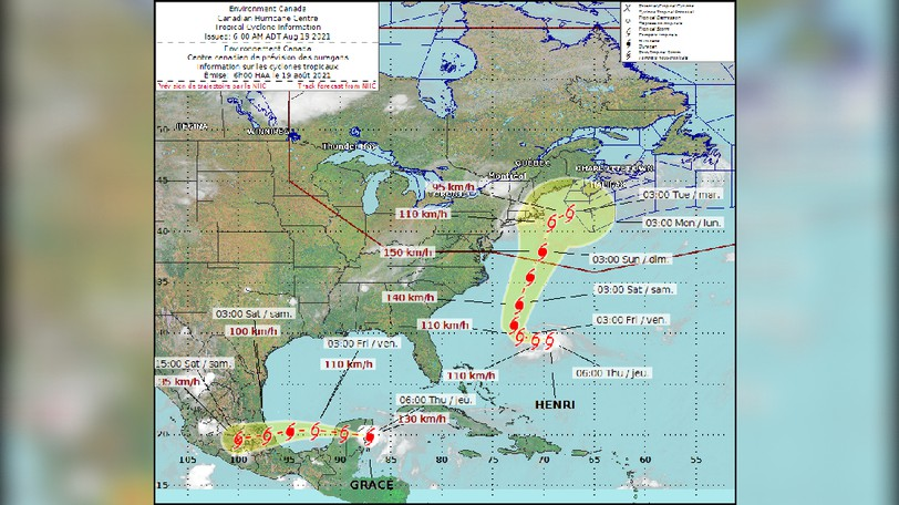 This graphic shows the predicted track of tropical storm Henri, which appears to be headed toward the Maritimes early next week.
