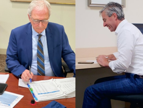 New Brunswick Premier Blaine Higgs and Nova Scotia Premier-designate Tim Houston are pictured in these submitted images.