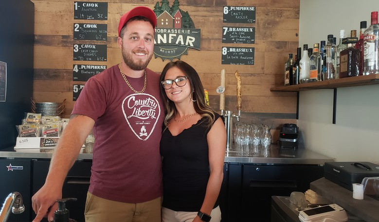 Jean-Philippe Lagacé and Mélissa Savoie are the owners of Sanfar Microbrewery and Resort in Tide Head and they say it's worth a two-minute drive to check them out.