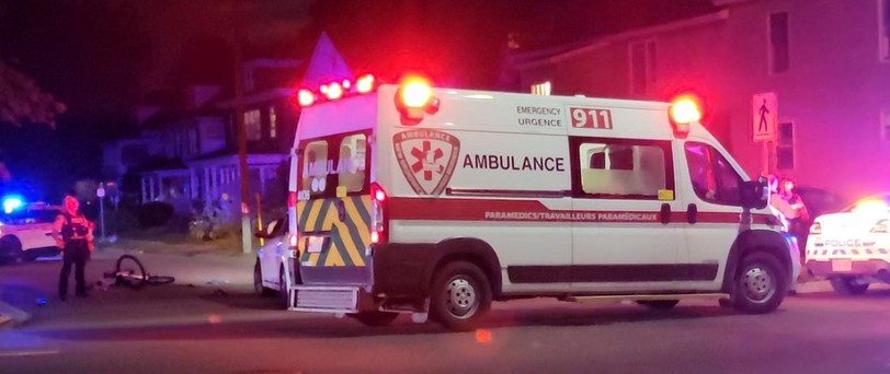 A pedestrian was taken to hospital after a collision with a vehicle on the corner of Church Street and Marjorie Street on Thursday evening, said Moncton Fire Department platoon chief Charlie Melanson.