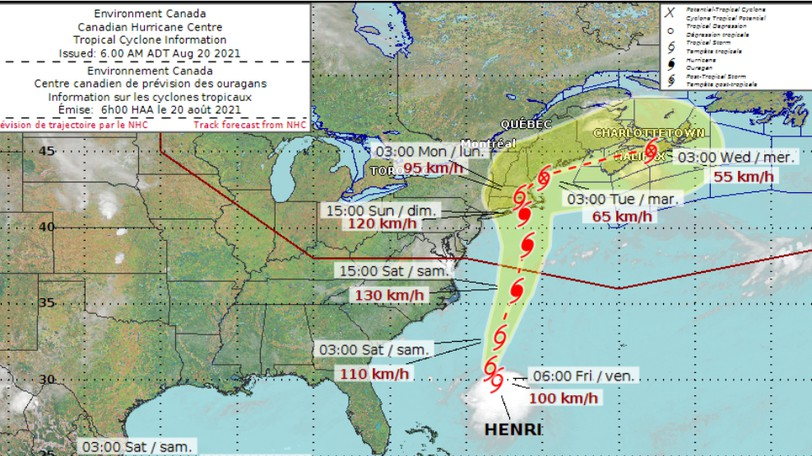 A map from the Environment Canada Hurricane Forecast Centre on Friday morning shows hurricane Henri on track to cover pretty well all of New Brunswick when it makes Canadian landfall as a post-tropical storm.