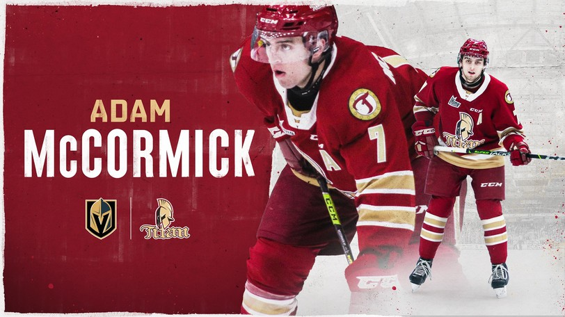 """TheTitan congratulated Adam McCormick """"on being invited to Vegas Golden Knights rookie camp,"""" in a post on its official Facebook page."""