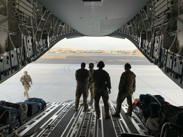 U.S. soldiers secure an evacuation flight at the Kabul airport in Afghanistan on Aug. 17.