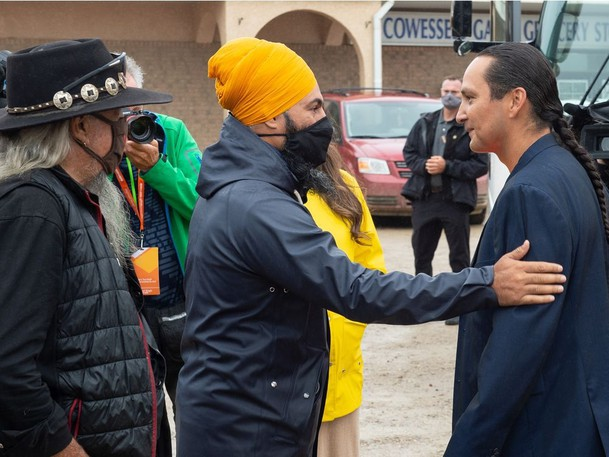 Federal NDP Leader Jagmeet Singh is pictured campaigning in Saskatchewan earlier this month. Singh and Liberal Leader Justin Trudeau seem more interested in provincial policies than in federal ones, writes Sean Speer.