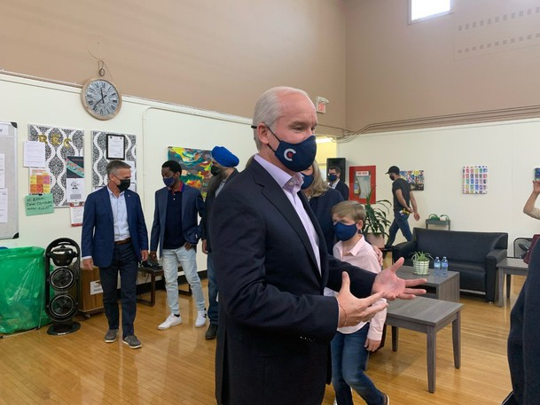 Federal Conservative Leader Erin O'Toole stops at Edmonton's Winnifred Stewart Association to release his plan to break down barriers for Canadians living with disabilities.