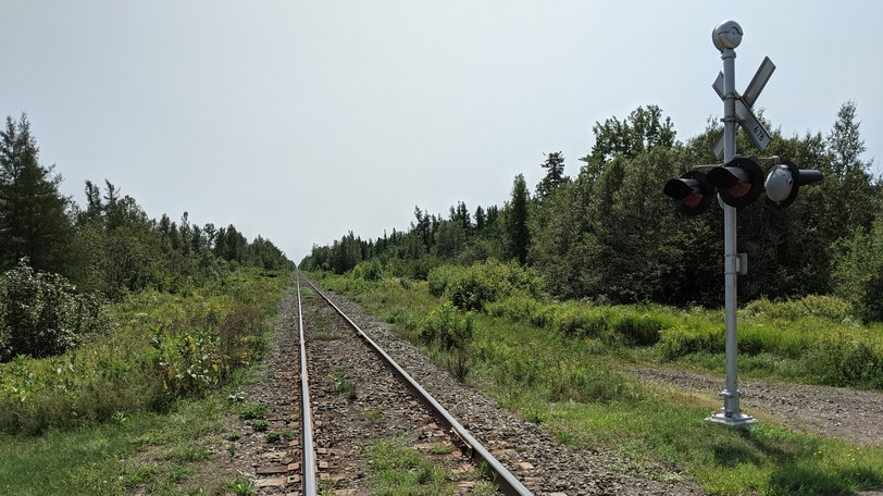 Train tracks near Canaan Station along Route 126. A CN spokesperson confirmed a train derailed roughly 50 kilometres northwest of Moncton on Saturday afternoon.