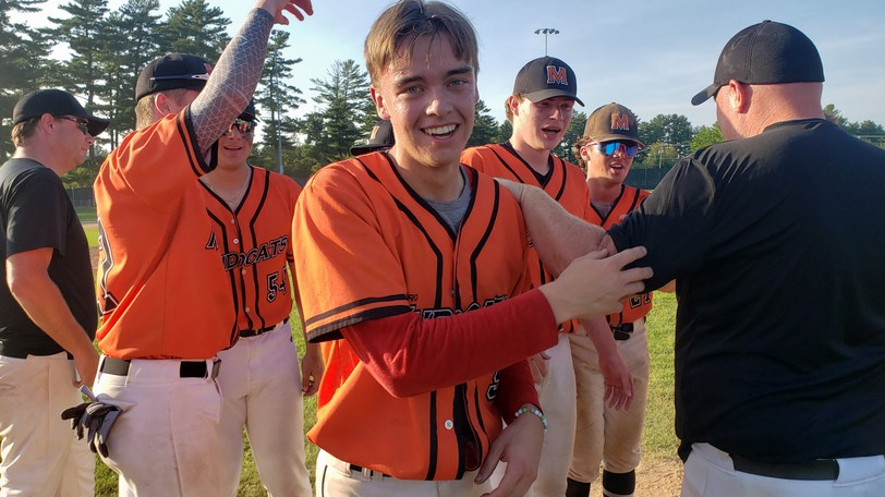 Winning pitcher Nick St. Pierre of the Metro Mudcats is all smiles after the Mudcats posted a 1-0 win over the Fredericton Royals in the New Brunswick 18-and-under baseball final on Sunday in Fredericton. St. Pierre also hit the game-winning home run to clinch a 1-0 victory.