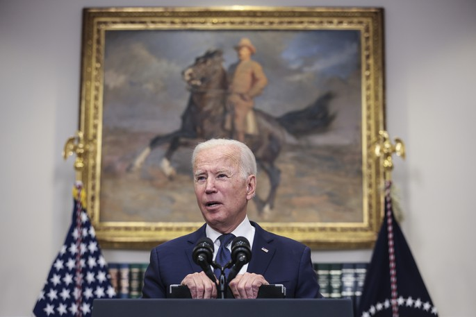 President Joe Biden speaks on the situation in Afghanistan and the effects of Tropical Storm Henri on August 22 at the White House.