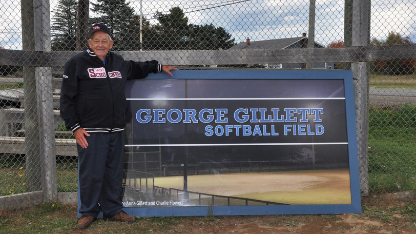 George Gillett, shown when the Hoyt ballfield was renamed in his honour on Sept. 30, 2018, will be inducted into Softball Canada's Hall of Fame on Nov. 13 in Fredericton.