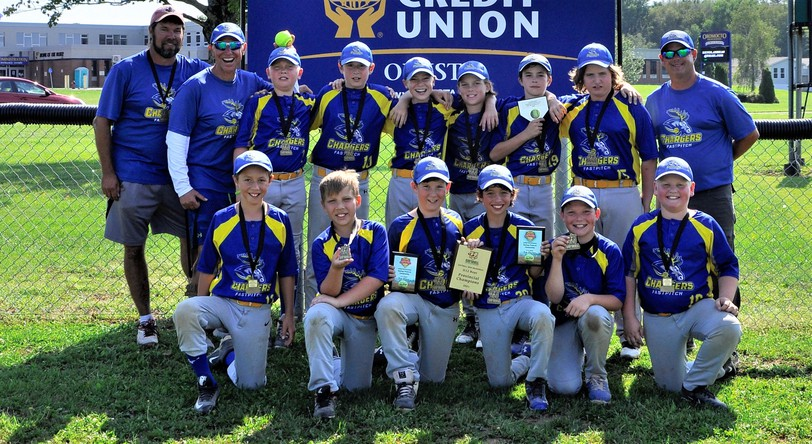 The host Oromocto Chargers downed the Minto Hawks 12-9 in the final of the Softball New Brunswick U12 boys fastpitch championship tournament.