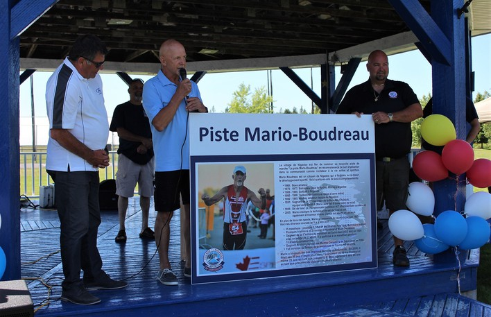 """During the Village of Nigadoo's official opening ceremony of Sportplexe Richelieu parkAug. 9, the village announced the walking track would be named the Mario Boudreau track in honour of Boudreau for his promotion of""""active and sporting life,"""" says an Aug. 9 press release. Pictured during the opening ceremony are Restigouche-Chaleur MLA Daniel Guitard, left, Mario Boudreau and Nigadoo Mayor Charles Doucet."""