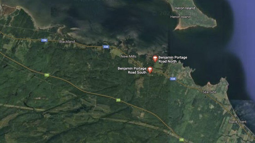 A forest fire near the Benjamin Portage Road, between Dalhousie and Belledune, was still burning Monday but under control, according to a government spokesperson.