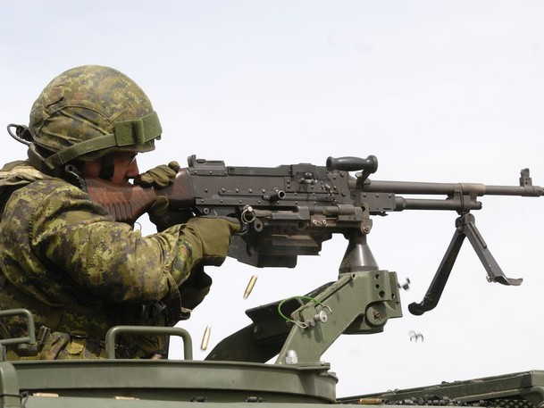 A Canadian Army reservist fires his C6 machine-gun during exercises in 2009 at CFB Suffield, Alberta.