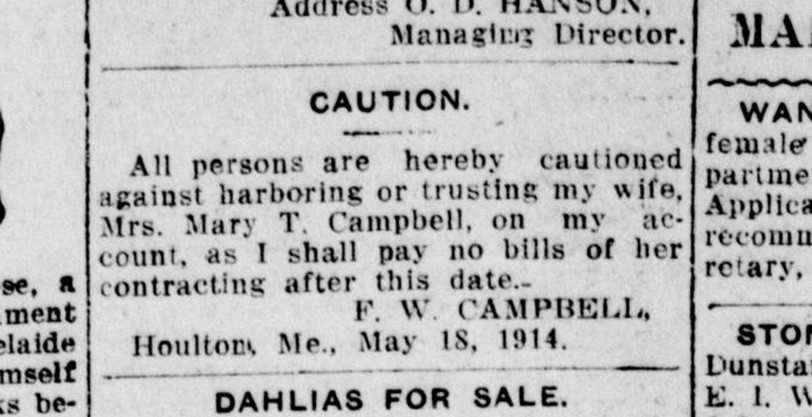 Ads, such as this one from the Saint John Standard published on May 29. 1914, were regular in newspapers well into the 20th century, and spoke volumes about the rights of women.