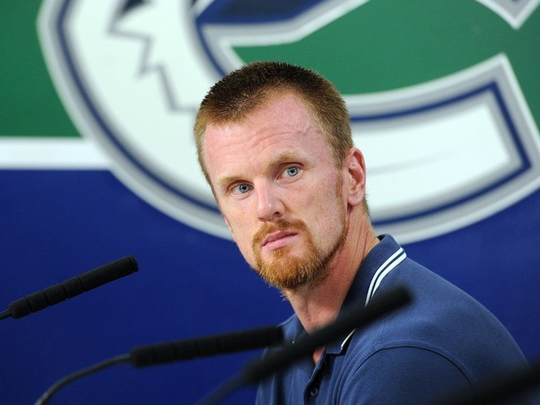 Daniel Sedin of the Vancouver Canucks leaves a press conference after talking to media at Rogers Arena in Vancouver, BC., September 12, 2017.