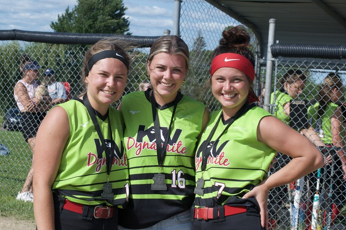 KV Dynamite U19 players Emile Dixon, Olivia Scott and Chloe Roger, pictured here, will all graduate from the softball program after this season. They have high hopes for their final hurrah, which will be the Eastern Canadian Championships being held in Charlottetown, P.E.I. this week.