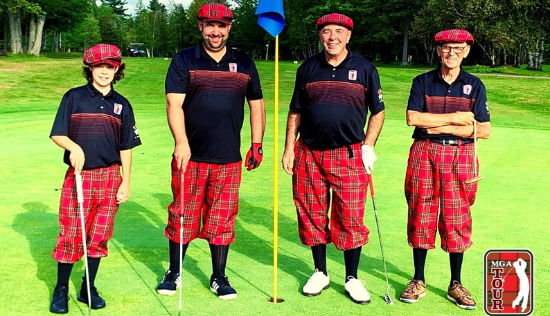 Four generations of Moncton's Maxwell family played in their Four Generational Invitational golf tournament on Monday at Lakeside Golf and Country Club. From left: Cayden, 13, Ryan, 37, Gair, 59, and Jim, 81.