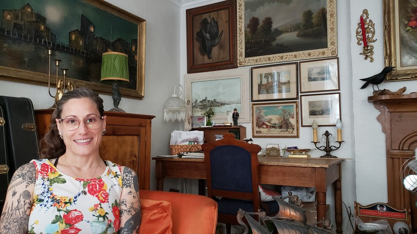 Jacqueline Carr and her husband Stephen live in the Periwinkle House in Fredericton, in a home filled with vintage and antique furniture, and stories for each.