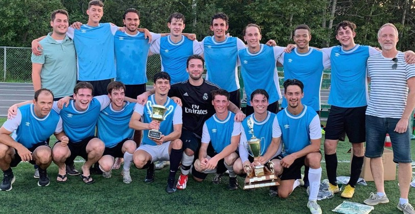 Caribou Windmill edged Restigouche 2-1 to win the senior soccer league championships on Tuesday. Team Chaleur Windmill, pictured, front from left is Marc-André Bryar, Spencer Colwell, Felix Leclair, William Gallant, Michael Raiche, Michael Goral, Lucas Frenette and Neal Anand. Back, from left: Team manager Vincent Bertrand, Sebastien Hebert, Alex Basque, Pascal Solnier, Yoan Robichaud, Philippe Gallant, Axel Lilian, Cedric Haché, and team sponsor Mark Haché.
