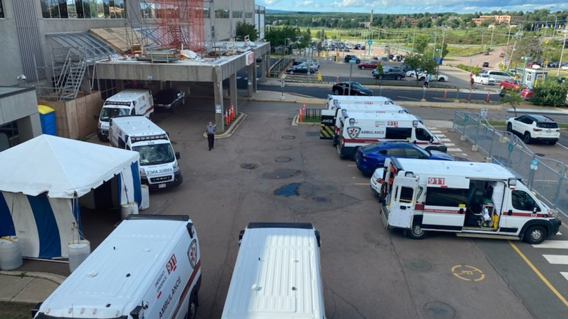 Ambulances waited to offload patients Tuesday due to a staffing shortages at the Dr. Georges-L.-Dumont University Hospital Centre.