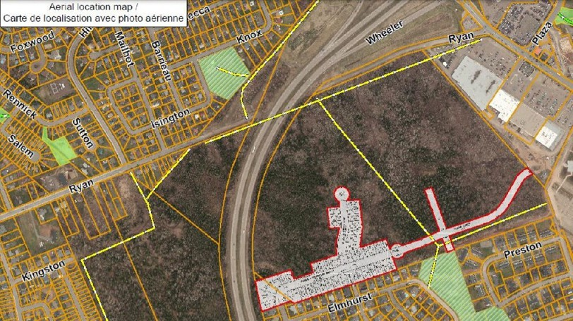 A map shows the location of a planned subdivision, outlined in red, where Shannex Developments Ltd. aims to build a seniors' living community.