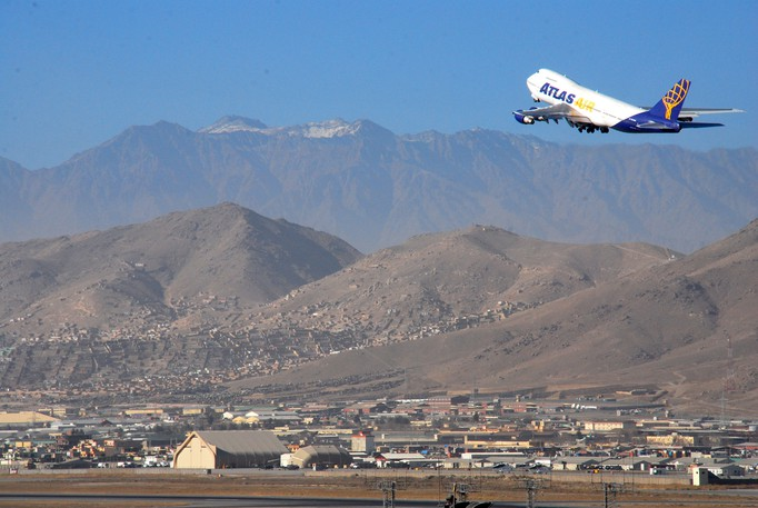 A World Atlas Boeing 747 aircraft takes off from Kabul International Airport, Kabul, Afghanistan.